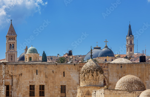 Churches and mosques in Jerusalem, Israel.