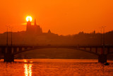 A beautiful sunset over silhouette of Prague Castle