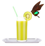Smoothies of kiwi in glass with butterfly