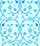 Seamless retro floral pattern in blue mood