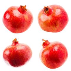 Pomegranate On White Background, Set, Collage