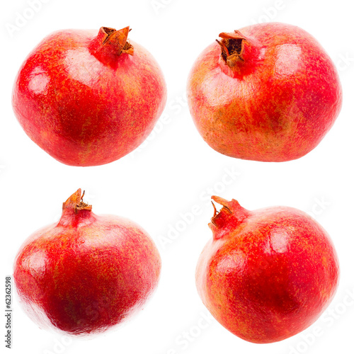 Pomegranate On White Background, Set, Collage