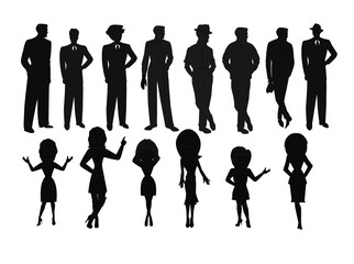 ladies and men in silhouette set