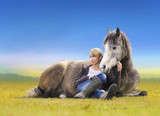 girl with blond hair and grey Arabian horse lie on yellow field