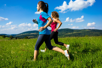 Young women running