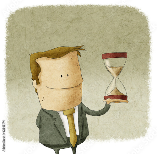 man with hourglass in hand