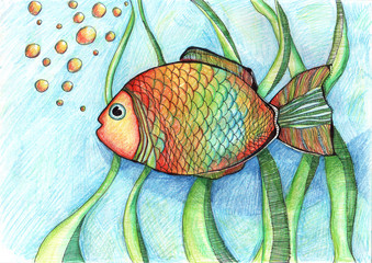 drawing of a fish aquarium underwater fun
