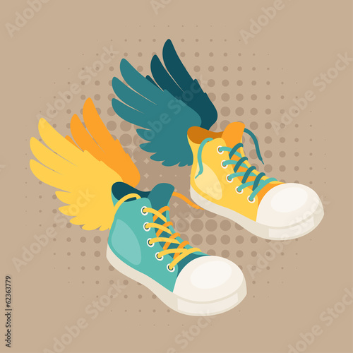 Design with sneakers and wings in hipster style.