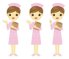 色々なポーズのピンク色ユニフォームの看護婦さん