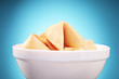 Studio shot of fortune cookies in a bowl