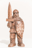 Ancient german-poland warrior/knight ready for battle, isolated