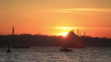 sunset Istanbul city with mosque at Turkey