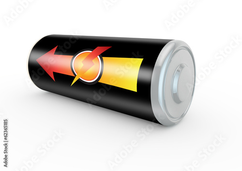 aroow representing maximum power on a battery