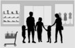 Family shopping. Silhouettes conceptual.