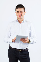 Confident man using tablet
