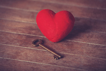 Retro key and heart shape.