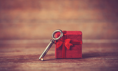 Retro key and little red gift
