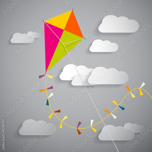 Paper Kite on Sky with Clouds -  Vector Illustration