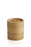 wooden dimsum plate on white background