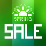 Spring Sale Theme with Sun Symbol on Green Background