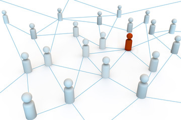 group of people in a network or hub