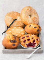 Fresh backed pie, muffins and bagles