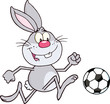 Cute Gray Rabbit Cartoon Character Playing With Soccer Ball