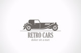 Retro Vintage car silhouette abstract vector logo design