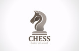 Chess club Horse shape silhouette vector Logo design icon