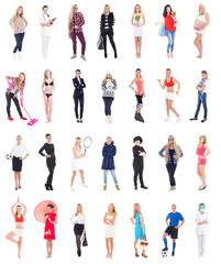 collection of different women isolated on white background