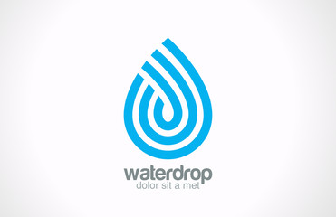 Water drop abstract vector logo design. Line art creative