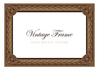 Vintage floral picture frame. Flourish design certificate border