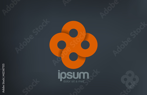 Cross Circles Abstract Looped vector logo design. Infinity
