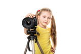 little beauty girl photograph you by digital camera on tripod