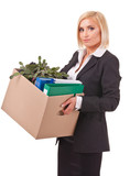 young business woman moving personal things