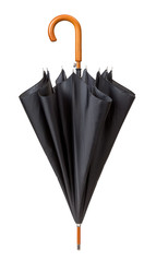 Unfastened Black Umbrella isolated