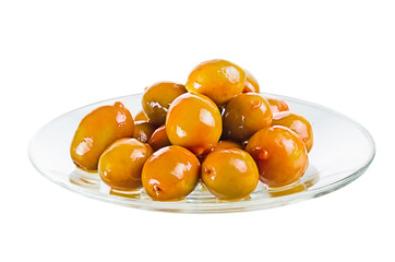 Group olives on a plate