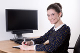 beautiful business woman working in office and computer with bla