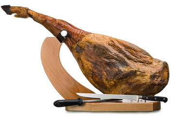 Iberian ham isolated
