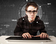 Young hacker in futuristic enviroment hacking personal informati