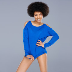 Beautiful African American woman in blue