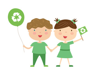 Kids with eco symbol