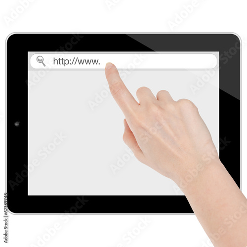 Female hand searching the internet on a tablet computer isolated