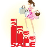 Girl shopping on sale