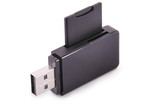 Black card reader with memory card (Clipping path)