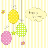 Greeting card with Easter eggs in patchwork style