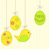Greeting card with Easter eggs and bird in patchwork style