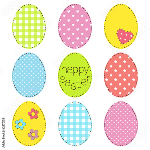Set of Easter eggs in patchwork style