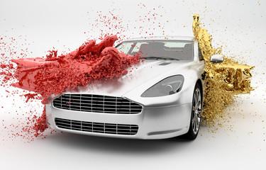 Farbe wird über ein Auto geschüttet