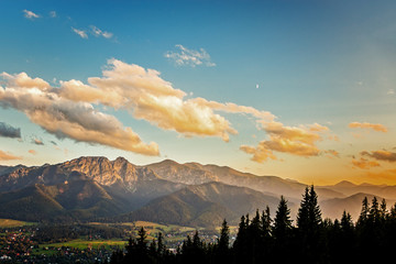 View on panorama of Tatras at sunset, Poland.